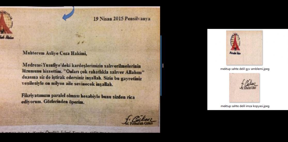 Savcılık, Gülen'in Cumhurbaşkanı Gül'e yazdığı mektubundan sahte delil üretti!